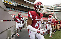 Hawgs Illustrated/BEN GOFF <br /> Mataio Soli, Arkansas defensive lineman, takes the field Saturday, April 6, 2019, during the Arkansas Red-White game at Reynolds Razorback Stadium.