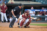 Florida State Seminoles catcher Cal Raleigh (35) frames a pitch as home plate umpire Frank Sylvester looks on during the game against the Duke Blue Devils in the first semifinal of the 2017 ACC Baseball Championship at Louisville Slugger Field on May 27, 2017 in Louisville, Kentucky. The Seminoles defeated the Blue Devils 5-1. (Brian Westerholt/Four Seam Images)