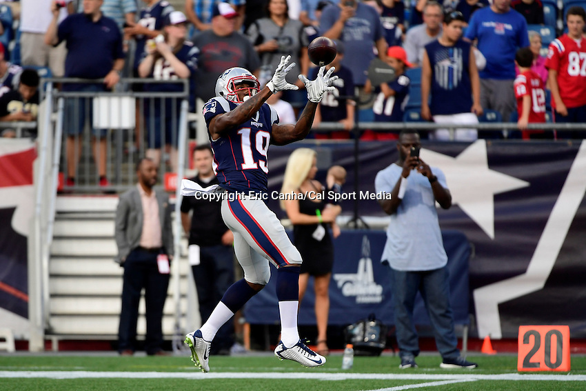 Thursday August 11, 2016: New England Patriots wide receiver Malcolm Mitchell (19) prepares for an NFL pre-season game between the New Orleans Saints and the New England Patriots held at Gillette Stadium in Foxborough Massachusetts. The Patriots defeat the Saints 34-22 in regulation time. Eric Canha/CSM