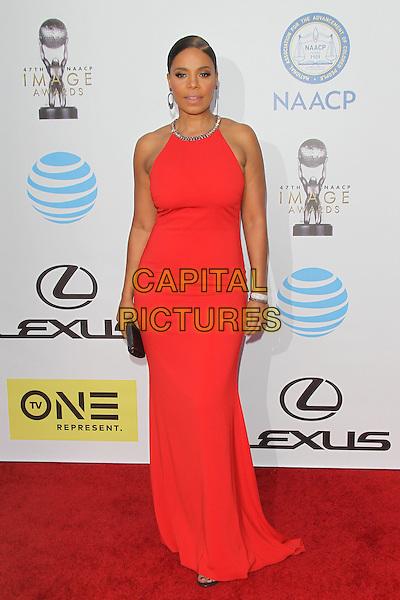 PASADENA, CA - FEBRUARY 5: Sanaa Lathan at the 47th NAACP Image Awards presented by TV One at Pasadena Civic Auditorium on February 5, 2016 in Pasadena, California. <br /> CAP/MPI25<br /> &copy;MPI25/Capital Pictures