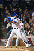 Chicago Cubs Jorge Soler (68) bats in the seventh inning during Game 3 of the Major League Baseball World Series against the Cleveland Indians on October 28, 2016 at Wrigley Field in Chicago, Illinois.  (Mike Janes/Four Seam Images)