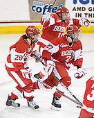 Louise Warren (BU - 28), Jenelle Kohanchuk (BU - 19), Tara Watchorn (BU - 27) - The Boston College Eagles defeated the Boston University Terriers 2-1 in the opening round of the Beanpot on Tuesday, February 8, 2011, at Conte Forum in Chestnut Hill, Massachusetts.