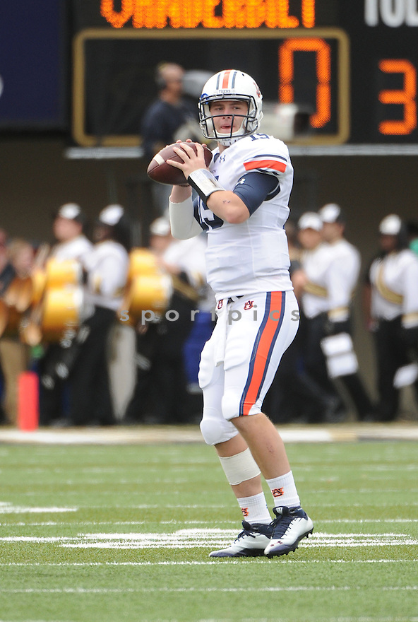 Auburn Tigers Clint Moseley (15) in action during a game against Vanderbilt on October 20, 2012 at Vanderbilt Stadium in Nashville, TN. Vanderbilt beat Auburn 17-13.