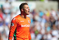 Stoke City's Jack Butland<br /> <br /> Photographer Kevin Barnes/CameraSport<br /> <br /> The Premier League - Swansea City v Stoke City - Saturday 22nd April 2017 - Liberty Stadium - Swansea<br /> <br /> World Copyright &copy; 2017 CameraSport. All rights reserved. 43 Linden Ave. Countesthorpe. Leicester. England. LE8 5PG - Tel: +44 (0) 116 277 4147 - admin@camerasport.com - www.camerasport.com