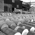 Lawrenceville PA: Location photography at the Atlantic Refining site at 5733 Butler Street. View of empty barrels prior to being filled with oil.<br /> This track of land has been involved in oil-related refining for over 100 years.  ARCO sold the property to SUNOCO which still operates a storage facility at 5733 Butler Street.