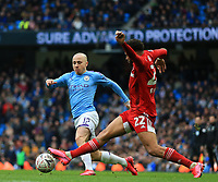 26th January 2020; Etihad Stadium, Manchester, Lancashire, England; English FA Cup Football, Manchester City versus Fulham; Angelino of Manchester City takes on Cyrus Christie of Fulham