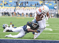 Morgantown, WV - November 18, 2017: Texas Longhorns tight end Kendall Moore (88) scores a touchdown during game between Texas and WVU at  Mountaineer Field at Milan Puskar Stadium in Morgantown, WV.  (Photo by Elliott Brown/Media Images International)