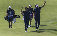 Ian Poulter (Team Europe) &amp; Rory McIlroy (Team Europe) soak up the applause on the 7th during Friday's Foursomes, at the Ryder Cup, Le Golf National, &Icirc;le-de-France, France. 28/09/2018.<br /> Picture David Lloyd / Golffile.ie<br /> <br /> All photo usage must carry mandatory copyright credit (&copy; Golffile | David Lloyd)