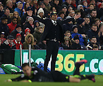 Antonio Conte manager of Chelsea reacts as Eden Hazard of Chelsea is fouled during the English Premier League match at the Riverside Stadium, Middlesbrough. Picture date: November 20th, 2016. Pic Simon Bellis/Sportimage