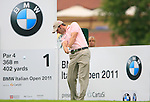 Bradley Dredge (WAL) tees off on the 1st tee off during Day 2 of the BMW Italian Open at Royal Park I Roveri, Turin, Italy, 10th June 2011 (Photo Eoin Clarke/Golffile 2011)