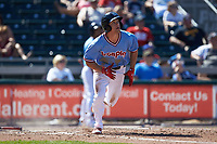 Scott Kingery (11) of the Lehigh Valley Iron Pigs starts down the first base line during the game against the Durham Bulls at Coca-Cola Park on July 30, 2017 in Allentown, Pennsylvania.  The Bulls defeated the IronPigs 8-2.  (Brian Westerholt/Four Seam Images)