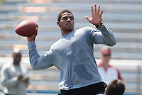HEMPFIELD TOWNSHIP, PA - AUGUST 20:  Terrelle Pryor throws during his pro day at a practice facility on August 20, 2011 in Hempfield Township, Pennsylvania.  (Photo by Jared Wickerham/Getty Images)
