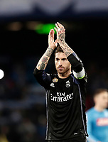 Football Soccer: UEFA Champions League Round of 16 second leg, Napoli-Real Madrid, San Paolo stadium, Naples, Italy, March 7, 2017. <br /> Real Madrid's Sergio Ramos celebrates after winning the Champions League football soccer match between Napoli and Real Madrid at the San Paolo stadium, 7 March 2017. <br /> Real Madrid won 3-1 to reach the quarter-finals.<br /> UPDATE IMAGES PRESS/Isabella Bonotto