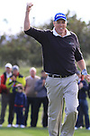 Final Day of the 100th Irish PGA championship at Seapoint Golf Club, Co Louth..David Mortimer celebrating after sinking his putt to win..Picture Fran Caffrey/www.golffile.ie.