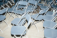 A jumble of chairs stands in the audience area after Democratic presidential candidate and former First Lady and Secretary of State Hillary Rodham Clinton spoke at the Women's Economic Opportunity Summit at Southern New Hampshire University in Hooksett, New Hampshire.
