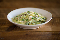 Farfalle prosciutto, peas, pea purée and alfredo at The Boot in Durham, North Carolina on Saturday, January 17, 2015. (Justin Cook)