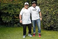 Diego Armando Maradona con il figlio naturale Diego Armando Sinagra, o Maradona Jr<br /> Diego Armando Maradona with his son Diego Armando Sinagra<br /> Roma 10-10-2016. Rai Viale Mazzini. Presentazione della 'Partita della Pace'.<br /> Rome 10th October 2016. Rai. Presentation of the 'Football match for Peace'.<br /> Foto Samantha Zucchi Insidefoto