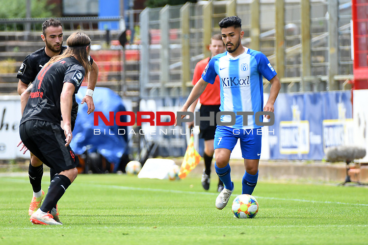 28.06.2020, Hänsch-Arena, Meppen, GER, 3.FBL, SV Meppen vs. FC Ingolstadt 04 <br /> <br /> im Bild<br /> Hassan Amin (SV Meppen, 7) am Ball.<br /> <br /> DFL REGULATIONS PROHIBIT ANY USE OF PHOTOGRAPHS AS IMAGE SEQUENCES AND/OR QUASI-VIDEO<br /> <br /> Foto © nordphoto / Paetzel