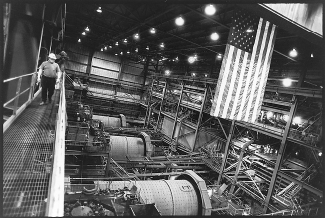 The primary crushers at the National Steel Pellet Company processing plant in Keewatin, MN.