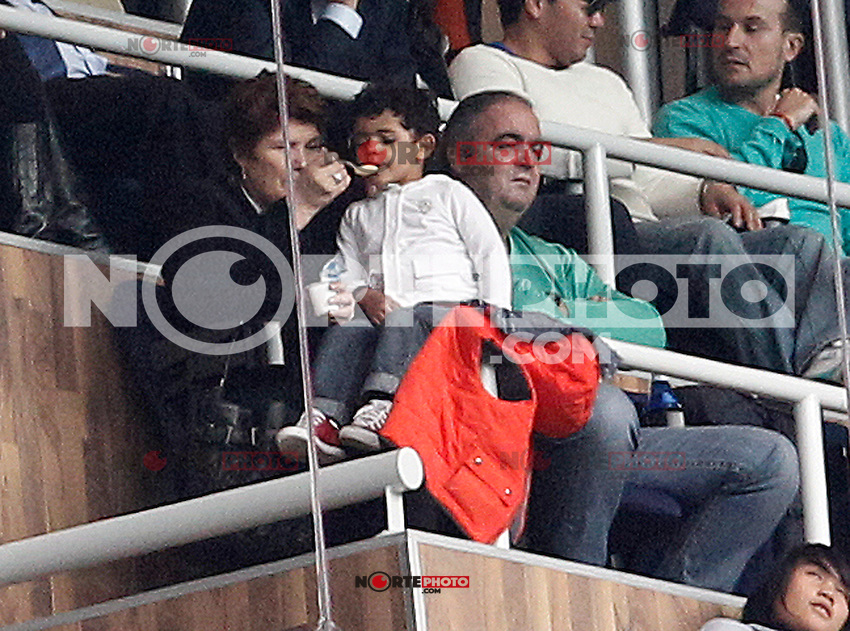 Football star Diego Armando Maradona with his new girlfriend Rocio Geraldine Oliva during La Liga match.March 02,2013.(ALTERPHOTOS/Acero) /NortePhoto
