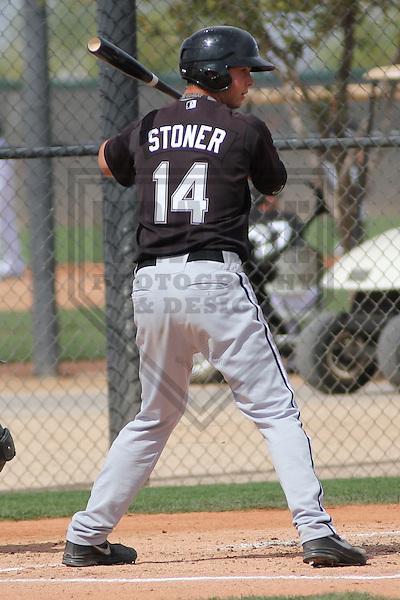 GLENDALE - March 2013: Zach Stoner (14)  of the Chicago White Sox during a Spring Training intrasquad game on March 21, 2013 at Camelback Ranch in Glendale, Arizona.  (Photo by Brad Krause).