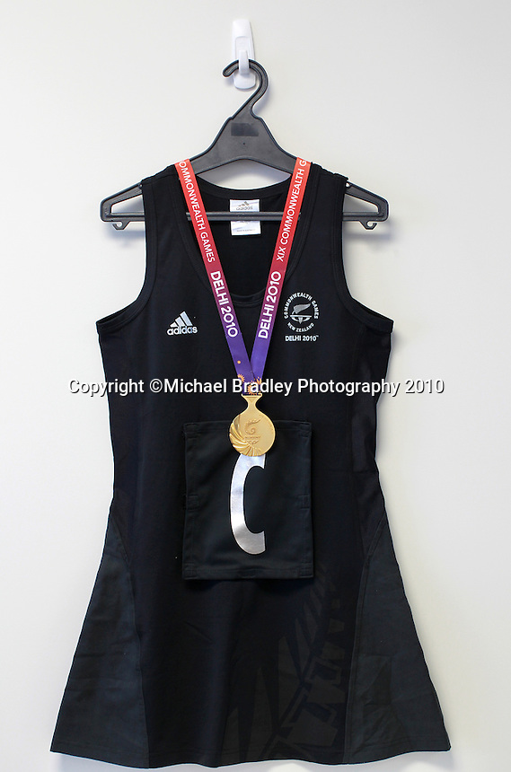 04.11.2010 TThe Netball New Zealand Board, a Silver Ferns Dress and the Commonwealth Games Gold Medal. Mandatory Photo Credit ©Michael Bradley.