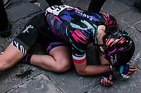 Katarzyna Niewiadoma (POL/Canyon-SRAM) needing some space/time to recuperate after finishing 3rd in the 5th Strade Bianche WE (1.WWT)<br /> <br /> One day race from Siena to Siena (136km)<br /> <br /> ©JojoHarper for kramon