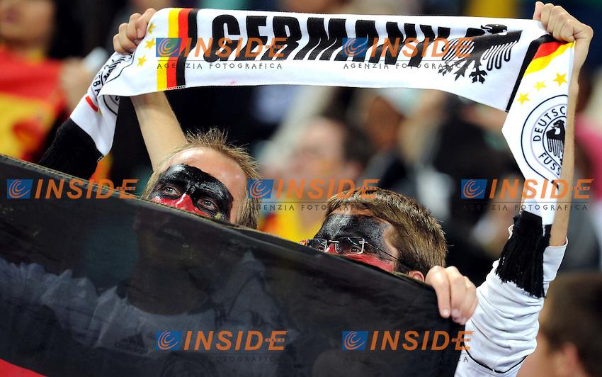 Tifosi Supporters della Germania<br /> Germania Spagna - Germany vs Spain<br /> Semifinale - Semifinal<br /> Campionati del Mondo di Calcio Sudafrica 2010 - World Cup South Africa 2010<br /> Moses Mabhida Stadium, Durban 07/07/2010<br /> &copy; Giorgio Perottino / Insidefoto