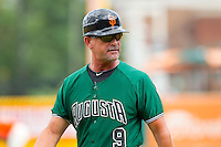 Augusta GreenJackets manager Mike Goff (9) walks away from home plate after arguing a call during the South Atlantic League game against the Greensboro Grasshoppers at NewBridge Bank Park on August 11, 2013 in Greensboro, North Carolina.  The GreenJackets defeated the Grasshoppers 6-5 in game one of a double-header.  (Brian Westerholt/Four Seam Images)