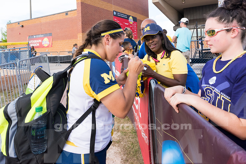The University of Michigan women's softball team; 6-3 victory over LSU, advancing them to the Championship series of the Women's College World Series held at the ASA Hall of Fame Stadium in Oklahoma City,Okla. on 5/30/15.