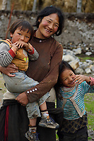 Tibetan mother and children, Valley near Yushu, Tibetan Plateau, Qinghai, China