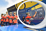 Bahrain-Merida team at sign on before the start of Stage 2 The  Ras Al Khaimah Stage of the Dubai Tour 2018 the Dubai Tour&rsquo;s 5th edition, running 190km from Skydive Dubai to Ras Al Khaimah, Dubai, United Arab Emirates. 7th February 2018.<br /> Picture: LaPresse/Massimo Paolone | Cyclefile<br /> <br /> <br /> All photos usage must carry mandatory copyright credit (&copy; Cyclefile | LaPresse/Massimo Paolone)