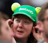 England, London, 28.06.2014. Tennis, Wimbledon, AELTC, Fan with hat and tennis balls<br /> <br /> Photo: Tennisimages/Henk Koster