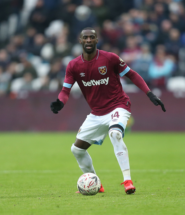 West Ham United's Pedro Obiang<br /> <br /> Photographer Rob Newell/CameraSport<br /> <br /> Emirates FA Cup Third Round - West Ham United v Birmingham City - Saturday 5th January 2019 - London Stadium - London<br />  <br /> World Copyright © 2019 CameraSport. All rights reserved. 43 Linden Ave. Countesthorpe. Leicester. England. LE8 5PG - Tel: +44 (0) 116 277 4147 - admin@camerasport.com - www.camerasport.com