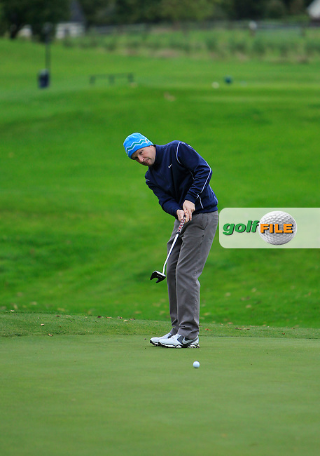 Peter Martin (Colin Park Golf Acadamy) on the 2nd green during Round 4 of The Cassidy Golf 103rd Irish PGA Championship in Roganstown Golf Club on Sunday 13th October 2013.<br /> Picture:  Thos Caffrey / www.golffile.ie