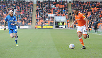 Blackpool's Liam Feeney under pressure from Peterborough United's Marcus Maddison<br /> <br /> Photographer Kevin Barnes/CameraSport<br /> <br /> The EFL Sky Bet League One - Blackpool v Peterborough United - Saturday 13th April 2019 - Bloomfield Road - Blackpool<br /> <br /> World Copyright &copy; 2019 CameraSport. All rights reserved. 43 Linden Ave. Countesthorpe. Leicester. England. LE8 5PG - Tel: +44 (0) 116 277 4147 - admin@camerasport.com - www.camerasport.com