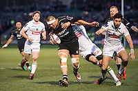 Robbie Fruean of Bath Rugby takes on the Pau defence. European Rugby Challenge Cup match, between Bath Rugby and Pau (Section Paloise) on January 21, 2017 at the Recreation Ground in Bath, England. Photo by: Dean McLachlan for Onside Images
