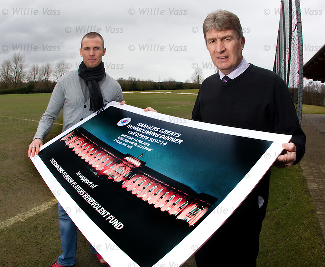 Kenny Miller and Sandy Jardine promote the Rangers Greats Homecoming Dinner