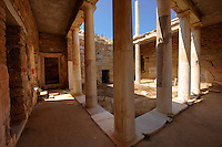 The ruins of the Greek Villa in the city of Delos, the birthplace of the twin gods Apollo and Artemis. Greek Cyclades Islands.