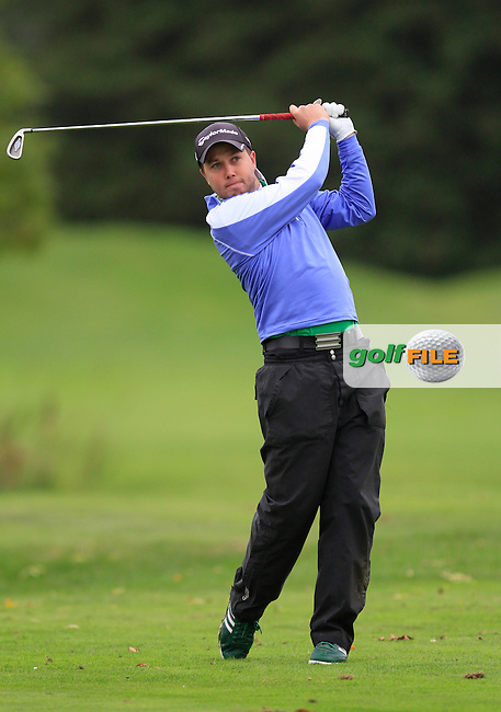 Daniel Beattie (Deer Park Hotel, Golf &amp; Spa) on the 15th tee during Round 4 of The Cassidy Golf 103rd Irish PGA Championship in Roganstown Golf Club on Sunday 13th October 2013.<br /> Picture:  Thos Caffrey / www.golffile.ie