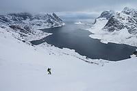 Hiker descends mountain pass towards Vindstad above Reinefjord in winter, Moskenesøy, Lofoten Islands, Norway