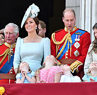 Prince Charles, Catherine Duchess of Cambridge, Prince William, Princess Charlotte, Prince George on the balcony at Buckingham Palace<br /> Celebration marking The Queen's official birthday, Trooping The Colour, The Queen's official birthday, Buckingham Palace, London, England UK on June 09, 2018.<br /> CAP/JOR<br /> &copy;JOR/Capital Pictures
