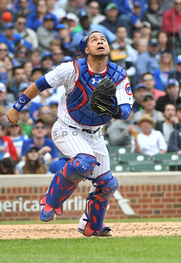 CHICAGO IL - May 21, 2017: Willson Contreras #40 of the Chicago Cubs during a game against the Milwaukee Brewers on May 21, 2017 at Wrigley Field in Chicago, IL. The Cubs beat the Brewers 13-6.(David Durochik/ SportPics)