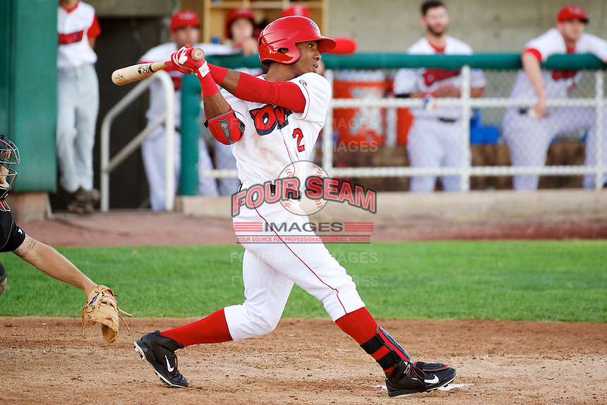 Raul Linares (2) of the Orem Owlz at bat against the Billings Mustangs in Pioneer League action at Home of the OWLZ on August 15, 2014 in Orem , Utah.  (Stephen Smith/Four Seam Images)