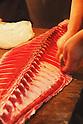 File photo - A Japanesefisherman cutting a tuna , Sep 5th 2008 : In the early morning, fishermen starts selling their fresh fish at the fish market in Tsukiji, Japan. (Photo by Takuya Matsunaga/AFLO)