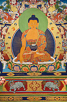 A wall mural of SAKYAMUNI BUDDHA in the main TEMPLE at the NORBULINGKA INSTITUTE, a TIBETAN BUDDHIST CULTURAL CENTER - DHARAMSALA, INDIA
