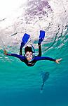 14 August 2009: Josh Wolfstein snorkels at Captain Don's Habitat on the island of Bonaire, in the Netherlands Antilles. Mandatory Credit: Ed Wolfstein Photo