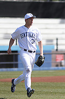 University of Kentucky Wildcats pitcher Spencer Jack #34  before a game against the University of Virginia Cavaliers at Brooks Field on the campus of the University of North Carolina at Wilmington on February 14, 2014 in Wilmington, North Carolina. Kentucky defeated Virginia by the score of 8-3. (Robert Gurganus/Four Seam Images)