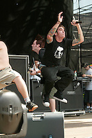 New Found Glory performing at the K-Rock Dysfunctional Family Picnic at Jones Beach Theater in New York on June 8, 2002. Photo by Scott Gries/PictureGroup