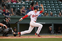 Center Fielder Cole Brannen (5) of the Greenville Drive bats in a game against the Kannapolis Intimidators on Wednesday, May 9, 2018, at Fluor Field at the West End in Greenville, South Carolina. Kannapolis won, 10-2. (Tom Priddy/Four Seam Images)